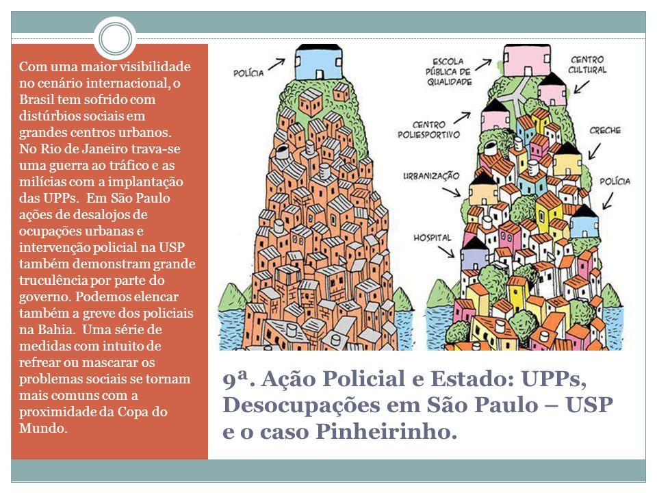 9ª. Ação Policial e Estado: UPPs, Desocupações em São Paulo – USP e o caso Pinheirinho. Com uma maior visibilidade no cenário internacional, o Brasil