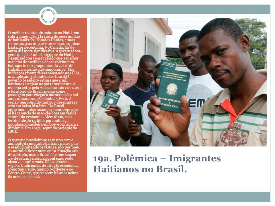 19a. Polêmica – Imigrantes Haitianos no Brasil. O melhor redutor de pobreza no Haiti tem sido a emigração. Há cerca de meio milhão de haitianos nos Es
