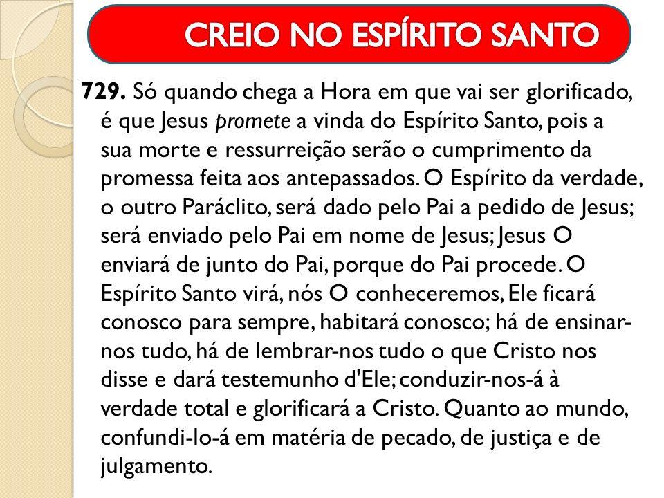 729. Só quando chega a Hora em que vai ser glorificado, é que Jesus promete a vinda do Espírito Santo, pois a sua morte e ressurreição serão o cumprim