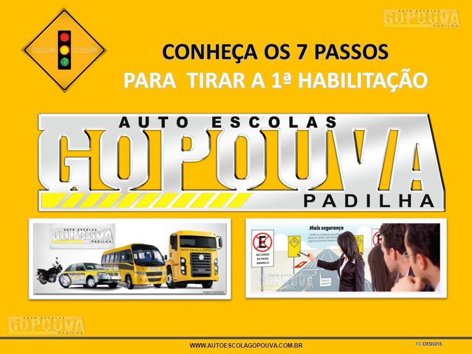 WWW.AUTOESCOLAGOPOUVA.COM.BR CONHEÇA OS 7 PASSOS PARA TIRAR A 1ª HABILITAÇÃO RC DESIGNS