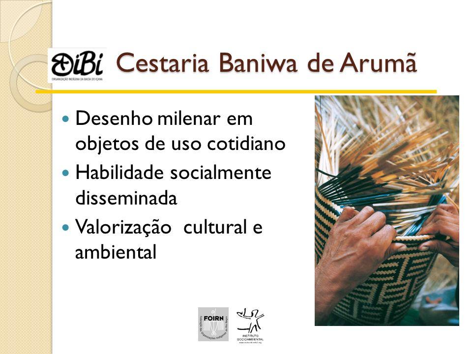 Cestaria Baniwa de Arumã Desenho milenar em objetos de uso cotidiano Habilidade socialmente disseminada Valorização cultural e ambiental