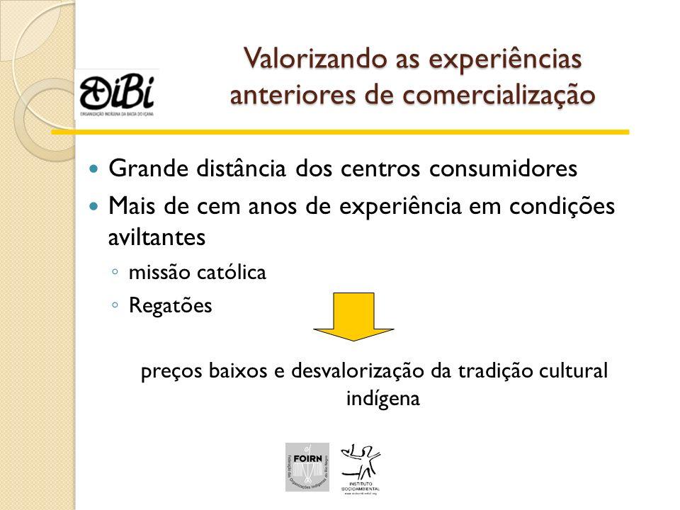 Valorizando as experiências anteriores de comercialização Grande distância dos centros consumidores Mais de cem anos de experiência em condições avilt