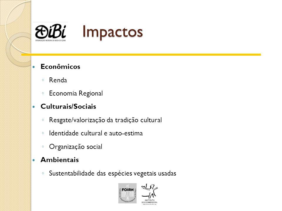 Impactos Econômicos Renda Economia Regional Culturais/Sociais Resgate/valorização da tradição cultural Identidade cultural e auto-estima Organização s