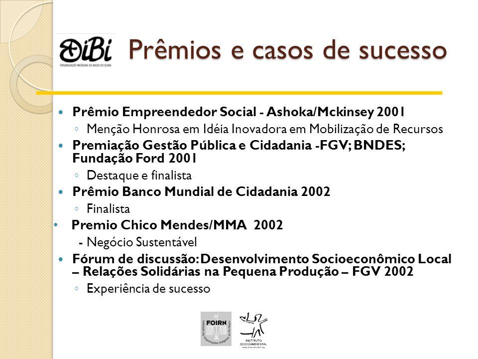 Prêmios e casos de sucesso Prêmio Empreendedor Social - Ashoka/Mckinsey 2001 Menção Honrosa em Idéia Inovadora em Mobilização de Recursos Premiação Ge