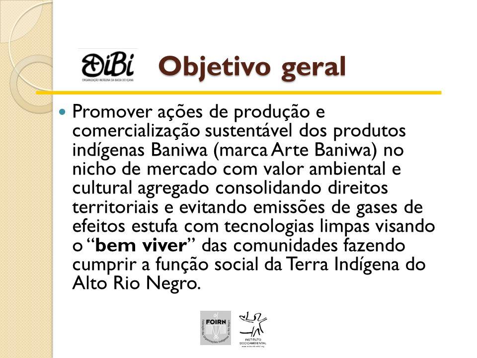 Objetivo geral Promover ações de produção e comercialização sustentável dos produtos indígenas Baniwa (marca Arte Baniwa) no nicho de mercado com valo