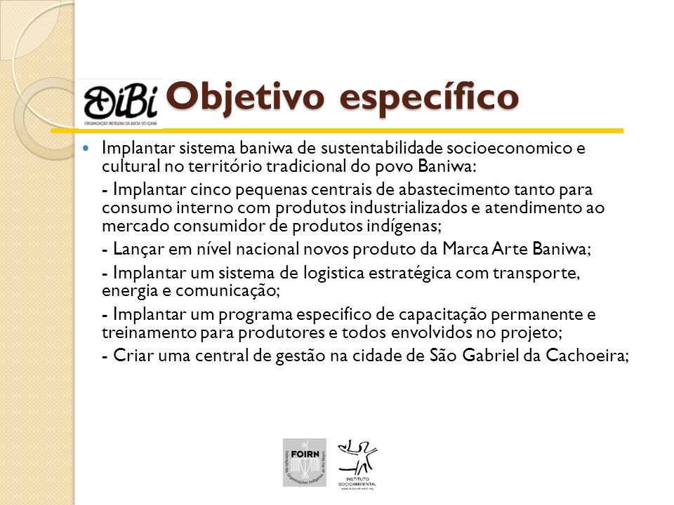Objetivo específico Implantar sistema baniwa de sustentabilidade socioeconomico e cultural no território tradicional do povo Baniwa: - Implantar cinco