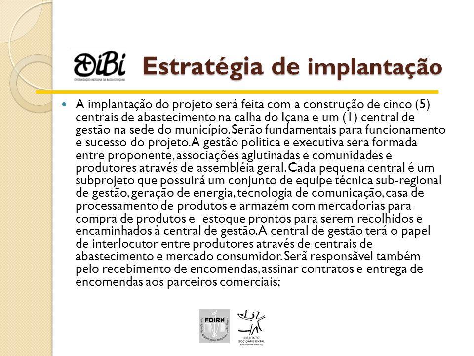 Estratégia de implantação A implantação do projeto será feita com a construção de cinco (5) centrais de abastecimento na calha do Içana e um (1) centr