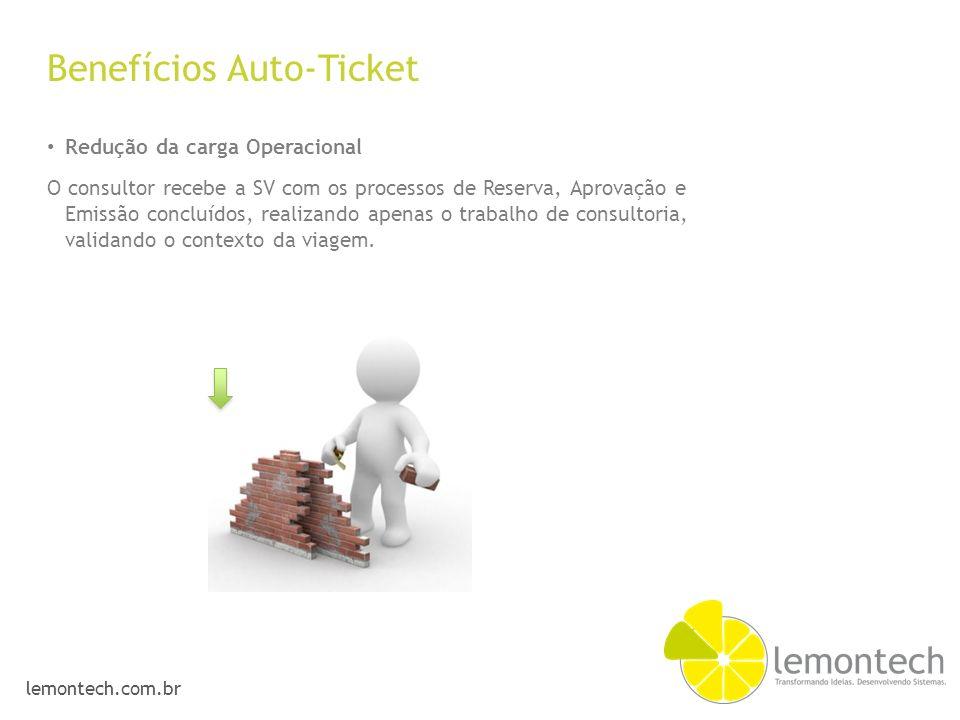 lemontech.com.br Benefícios Auto-Ticket Redução da carga Operacional O consultor recebe a SV com os processos de Reserva, Aprovação e Emissão concluíd