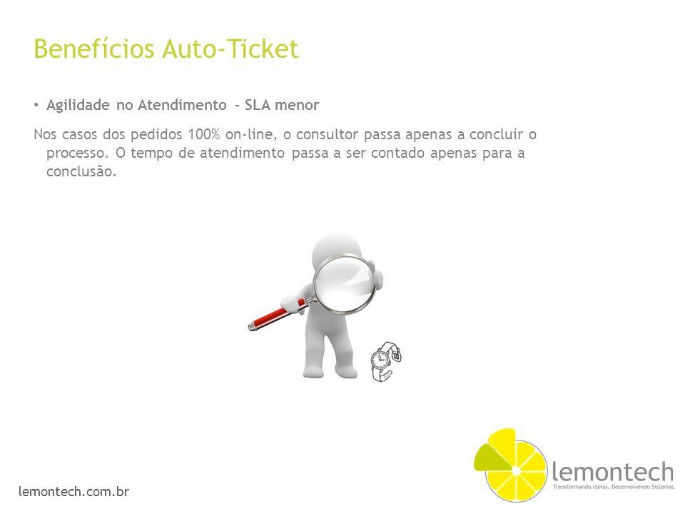 lemontech.com.br Benefícios Auto-Ticket Agilidade no Atendimento – SLA menor Nos casos dos pedidos 100% on-line, o consultor passa apenas a concluir o