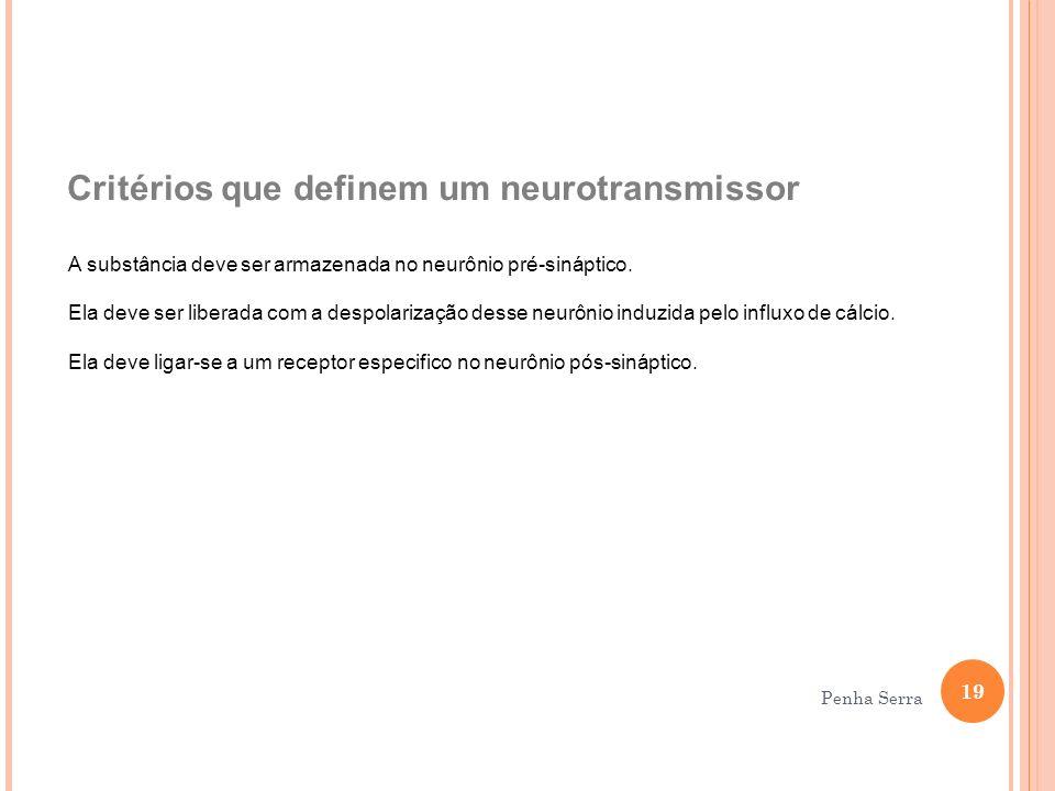 Critérios que definem um neurotransmissor A substância deve ser armazenada no neurônio pré-sináptico. Ela deve ser liberada com a despolarização desse