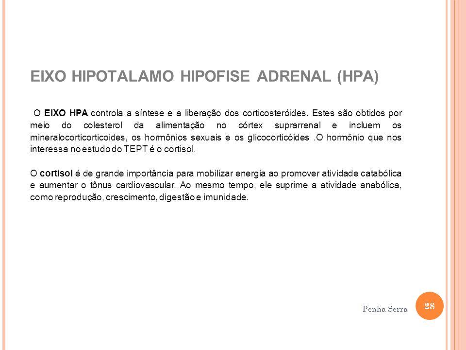 EIXO HIPOTALAMO HIPOFISE ADRENAL (HPA) O EIXO HPA controla a síntese e a liberação dos corticosteróides. Estes são obtidos por meio do colesterol da a