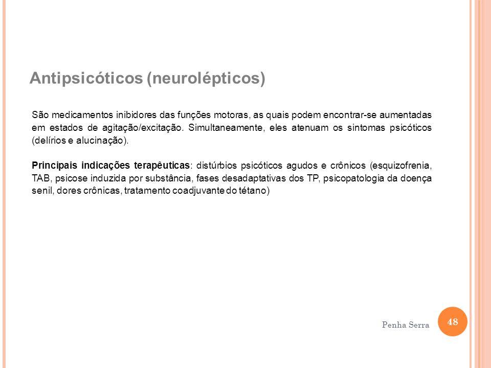 Antipsicóticos (neurolépticos) São medicamentos inibidores das funções motoras, as quais podem encontrar-se aumentadas em estados de agitação/excitaçã