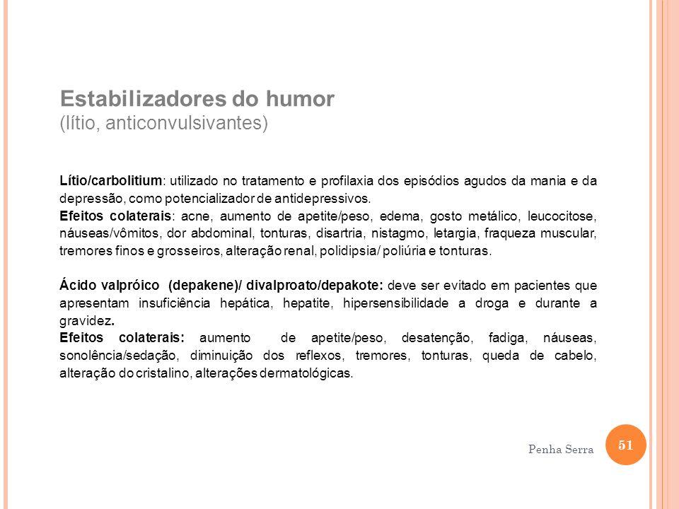 Estabilizadores do humor (lítio, anticonvulsivantes) Lítio/carbolitium: utilizado no tratamento e profilaxia dos episódios agudos da mania e da depres
