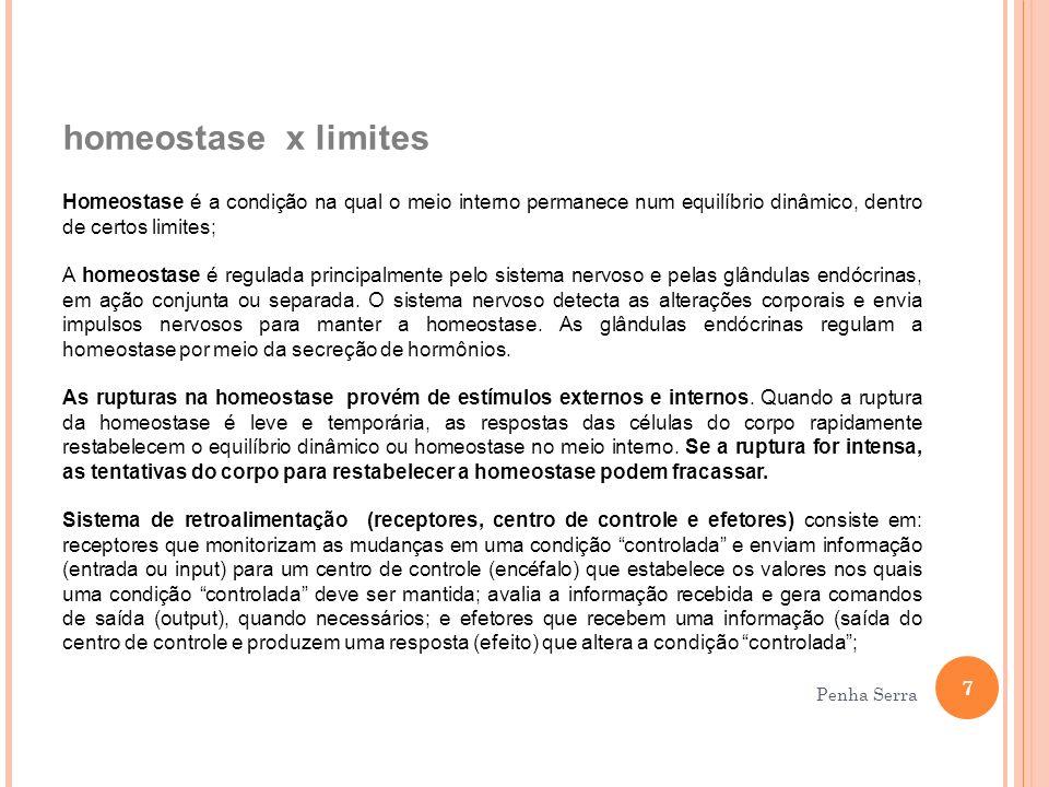 homeostase x limites Homeostase é a condição na qual o meio interno permanece num equilíbrio dinâmico, dentro de certos limites; A homeostase é regula
