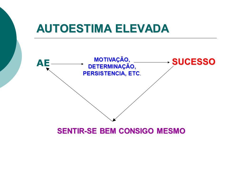 AUTOESTIMA ELEVADA AE MOTIVAÇÃO, DETERMINAÇÃO, PERSISTENCIA, ETC.