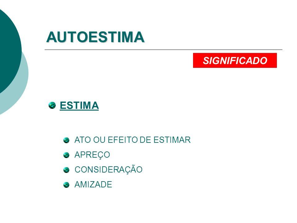 AUTOESTIMA ESTIMA ATO OU EFEITO DE ESTIMAR APREÇO CONSIDERAÇÃO AMIZADE SIGNIFICADO