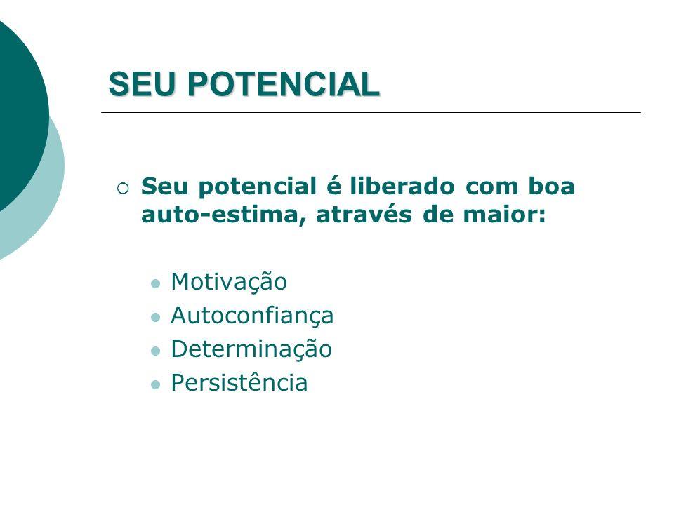 SEU POTENCIAL Seu potencial é liberado com boa auto-estima, através de maior: Motivação Autoconfiança Determinação Persistência