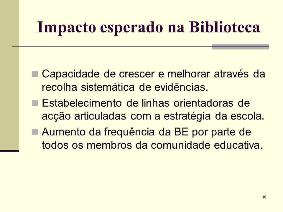 18 Impacto esperado na Biblioteca Capacidade de crescer e melhorar através da recolha sistemática de evidências. Estabelecimento de linhas orientadora
