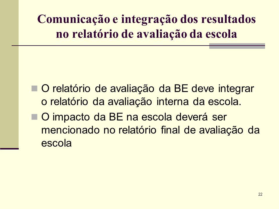 22 Comunicação e integração dos resultados no relatório de avaliação da escola O relatório de avaliação da BE deve integrar o relatório da avaliação i