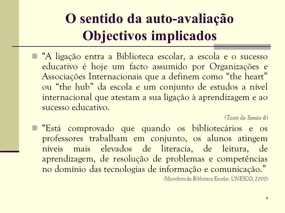 4 O sentido da auto-avaliação Objectivos implicados A ligação entra a Biblioteca escolar, a escola e o sucesso educativo é hoje um facto assumido por