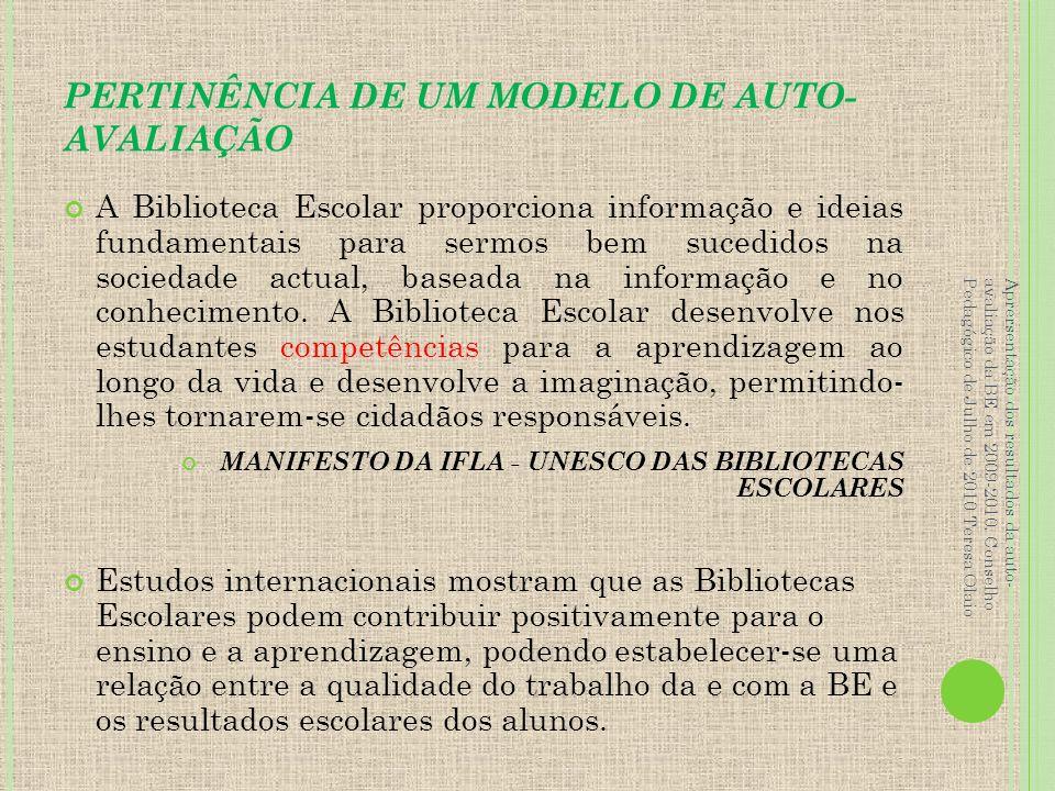 AUTO-AVALIAÇÃO DA BIBLIOTECA ESCOLAR A avaliação pressupõe apreciações/julgamentos sobre o funcionamento da BE (eficácia, utilidade, valor…).