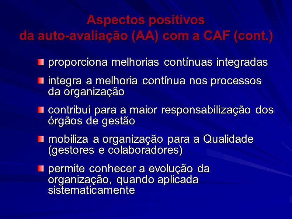 Aspectos positivos da auto-avaliação (AA) com a CAF (cont.) proporciona melhorias contínuas integradas integra a melhoria contínua nos processos da or