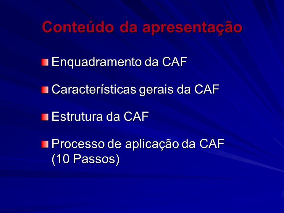 Conteúdo da apresentação Enquadramento da CAF Características gerais da CAF Estrutura da CAF Processo de aplicação da CAF (10 Passos)