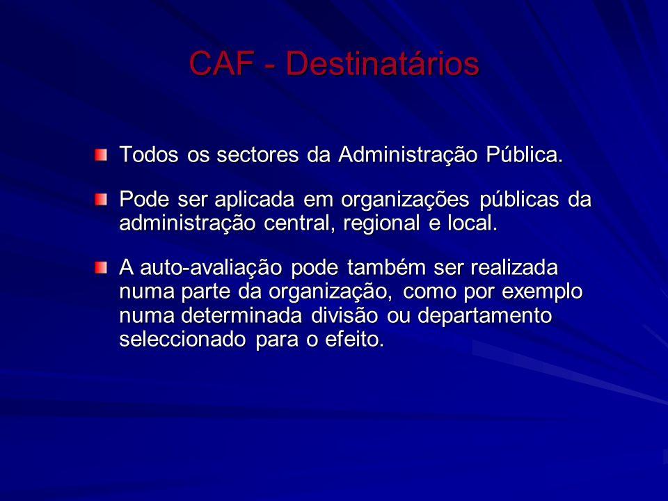 CAF - Destinatários Todos os sectores da Administração Pública. Pode ser aplicada em organizações públicas da administração central, regional e local.