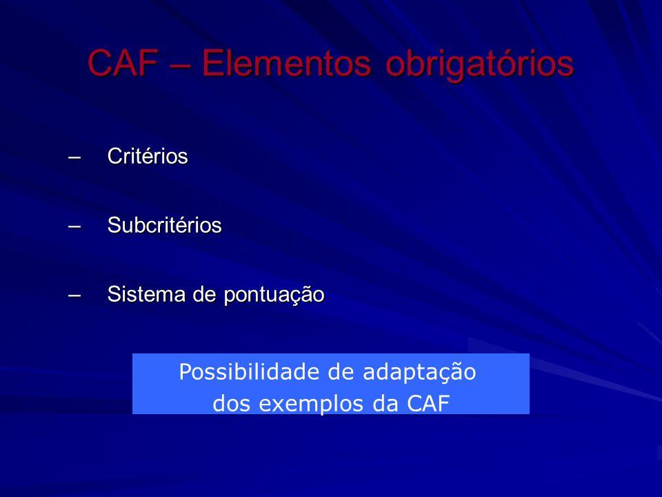 CAF – Elementos obrigatórios –Critérios –Subcritérios –Sistema de pontuação Possibilidade de adaptação dos exemplos da CAF