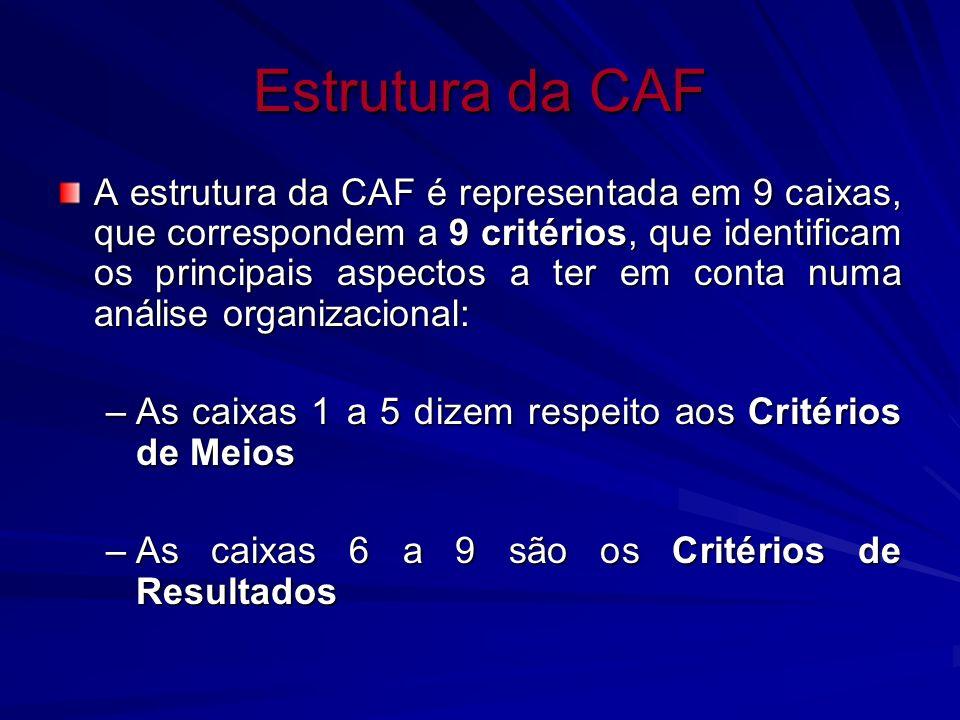 Estrutura da CAF A estrutura da CAF é representada em 9 caixas, que correspondem a 9 critérios, que identificam os principais aspectos a ter em conta