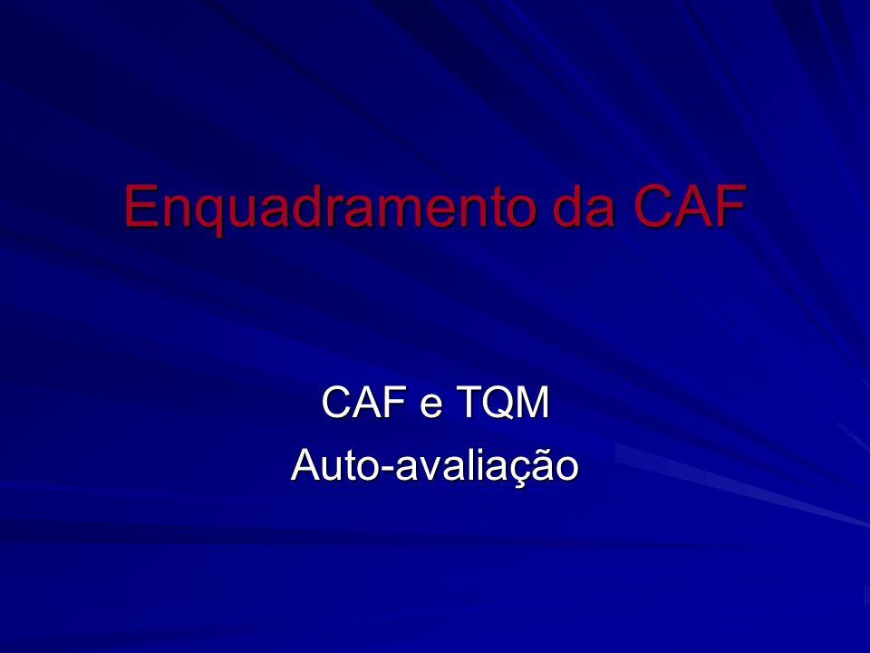 Enquadramento da CAF CAF e TQM Auto-avaliação
