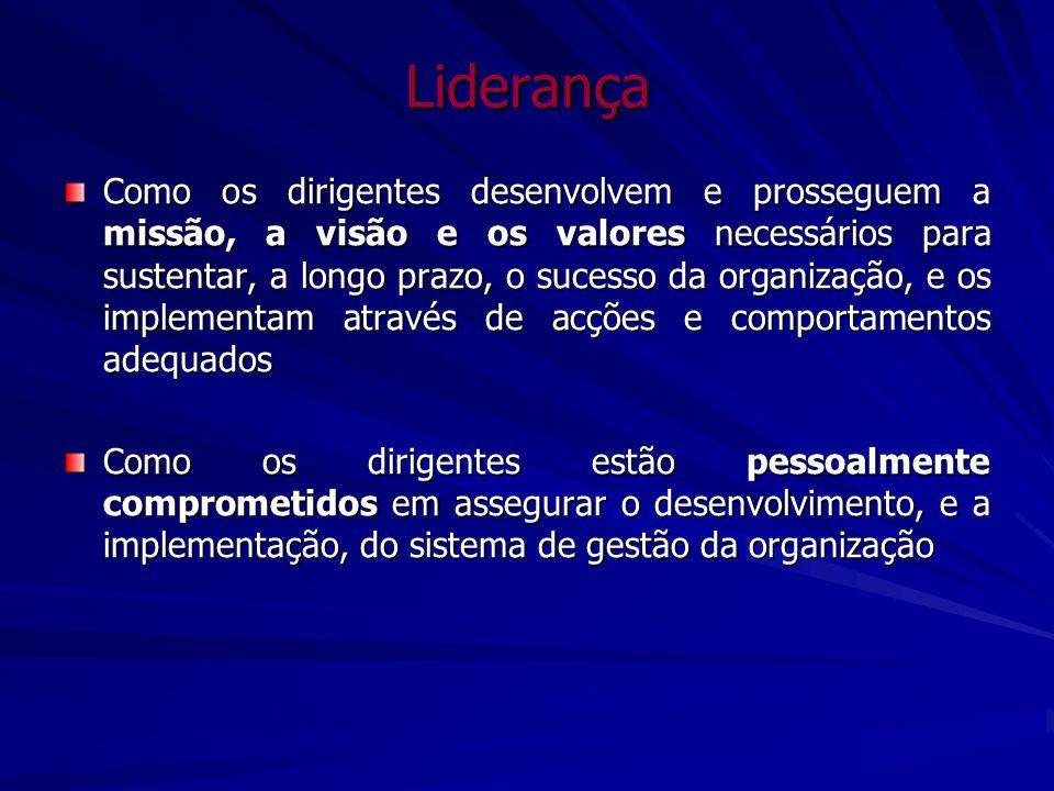 Liderança Como os dirigentes desenvolvem e prosseguem a missão, a visão e os valores necessários para sustentar, a longo prazo, o sucesso da organizaç
