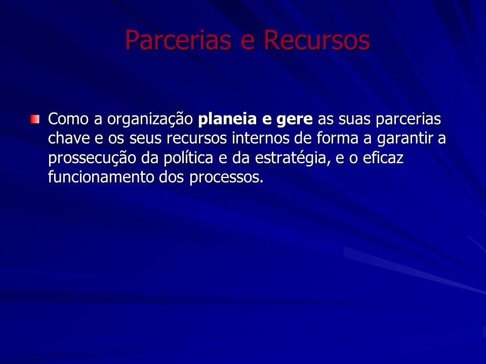 Parcerias e Recursos Como a organização planeia e gere as suas parcerias chave e os seus recursos internos de forma a garantir a prossecução da políti