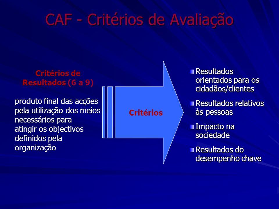 CAF - Critérios de Avaliação Resultados orientados para os cidadãos/clientes Resultados relativos às pessoas Impacto na sociedade Resultados do desemp