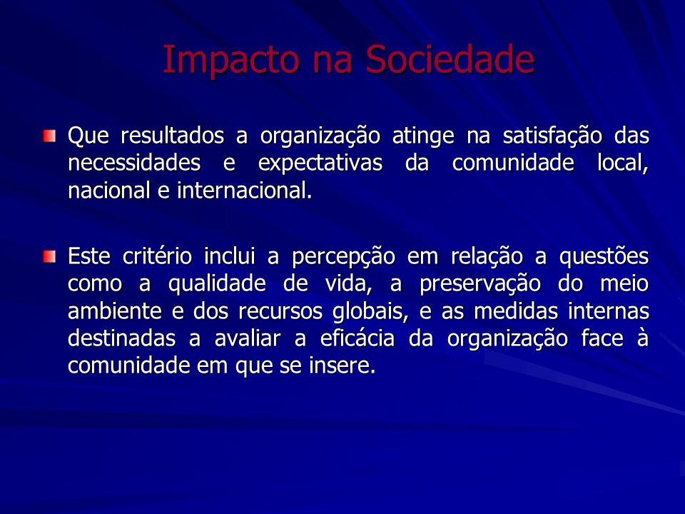 Impacto na Sociedade Que resultados a organização atinge na satisfação das necessidades e expectativas da comunidade local, nacional e internacional.