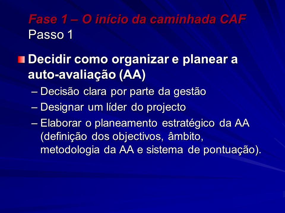 Fase 1 – O início da caminhada CAF Passo 1 Decidir como organizar e planear a auto-avaliação (AA) –Decisão clara por parte da gestão –Designar um líde