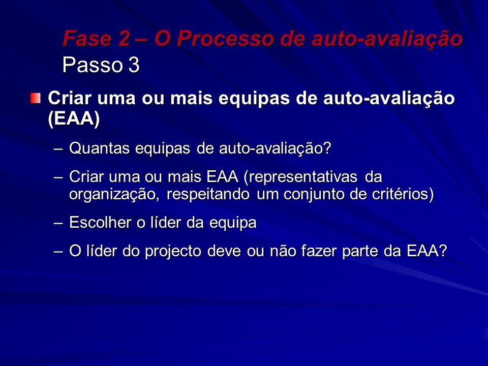 Fase 2 – O Processo de auto-avaliação Passo 3 Criar uma ou mais equipas de auto-avaliação (EAA) –Quantas equipas de auto-avaliação? –Criar uma ou mais