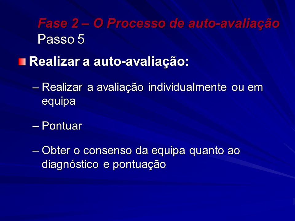 Fase 2 – O Processo de auto-avaliação Passo 5 Realizar a auto-avaliação: –Realizar a avaliação individualmente ou em equipa –Pontuar –Obter o consenso