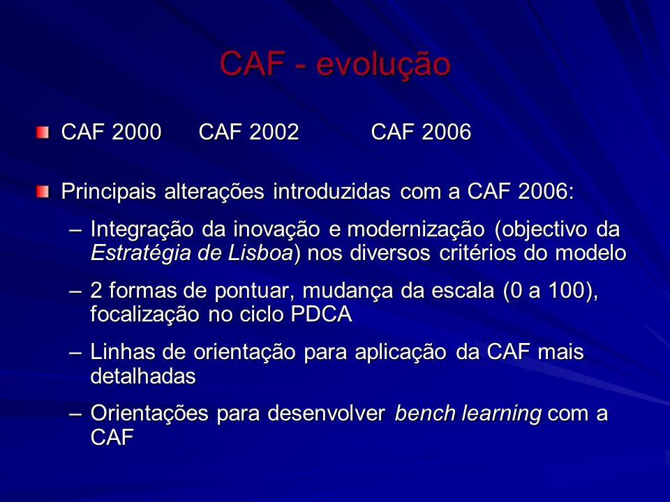 CAF - evolução CAF 2000 CAF 2002CAF 2006 Principais alterações introduzidas com a CAF 2006: –Integração da inovação e modernização (objectivo da Estra