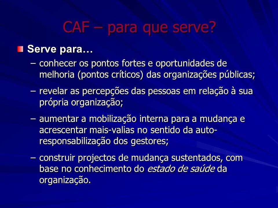CAF – para que serve? Serve para… –conhecer os pontos fortes e oportunidades de melhoria (pontos críticos) das organizações públicas; –revelar as perc