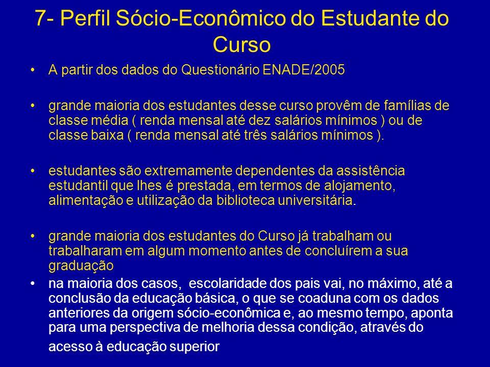 7- Perfil Sócio-Econômico do Estudante do Curso A partir dos dados do Questionário ENADE/2005 grande maioria dos estudantes desse curso provêm de famí