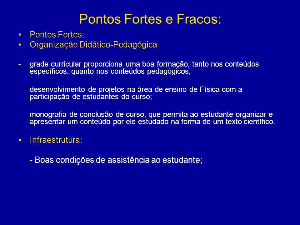 Pontos Fortes e Fracos: Pontos Fortes: Organização Didático-Pedagógica -grade curricular proporciona uma boa formação, tanto nos conteúdos específicos