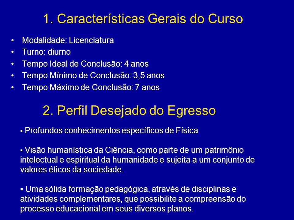 1. Características Gerais do Curso Modalidade: Licenciatura Turno: diurno Tempo Ideal de Conclusão: 4 anos Tempo Mínimo de Conclusão: 3,5 anos Tempo M