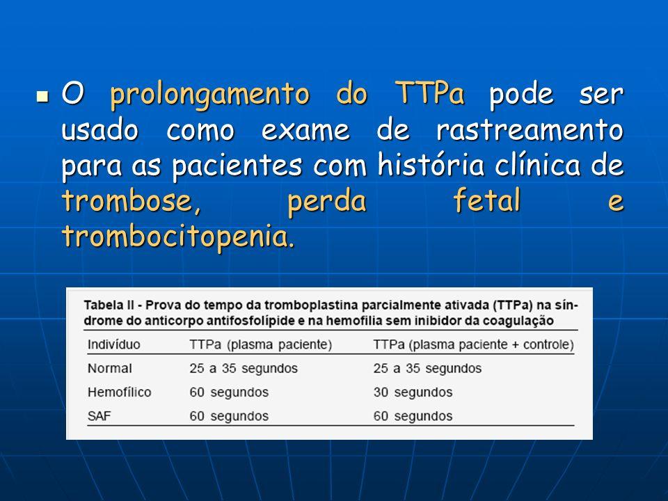 O prolongamento do TTPa pode ser usado como exame de rastreamento para as pacientes com história clínica de trombose, perda fetal e trombocitopenia. O