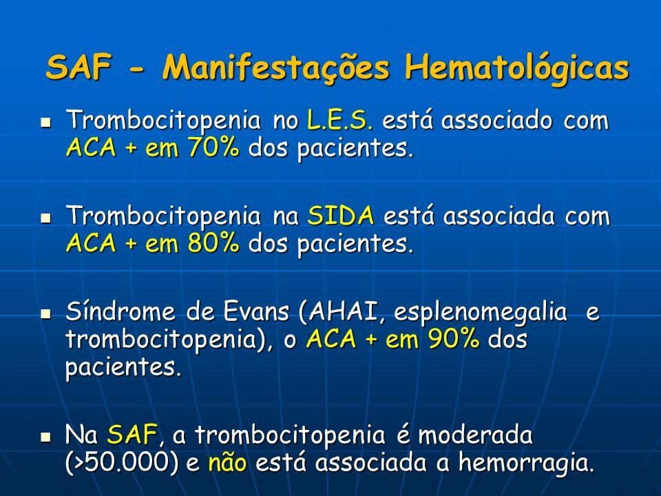 SAF - Manifestações Hematológicas Trombocitopenia no L.E.S. está associado com ACA + em 70% dos pacientes. Trombocitopenia no L.E.S. está associado co