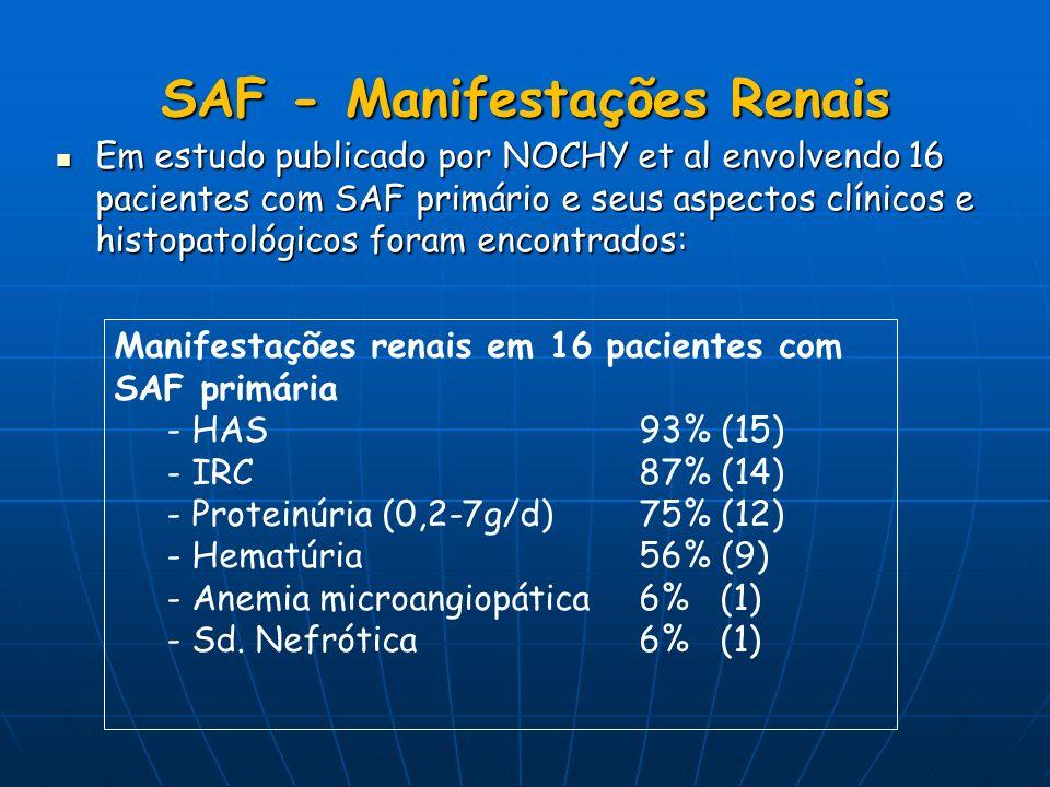 SAF - Manifestações Renais Em estudo publicado por NOCHY et al envolvendo 16 pacientes com SAF primário e seus aspectos clínicos e histopatológicos fo