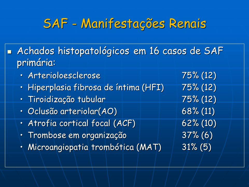 SAF - Manifestações Renais Achados histopatológicos em 16 casos de SAF primária: Achados histopatológicos em 16 casos de SAF primária: Arterioloescler