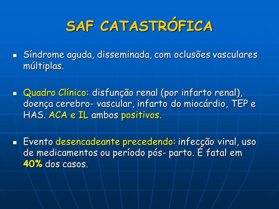 SAF CATASTRÓFICA Síndrome aguda, disseminada, com oclusões vasculares múltiplas. Síndrome aguda, disseminada, com oclusões vasculares múltiplas. Quadr