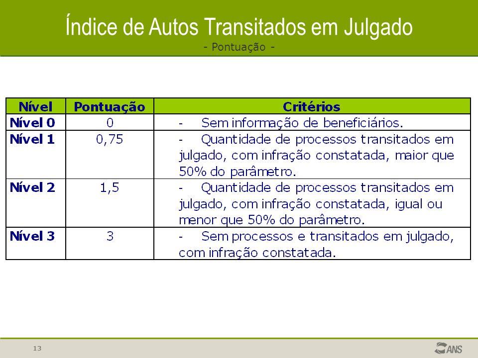 13 Índice de Autos Transitados em Julgado - Pontuação -