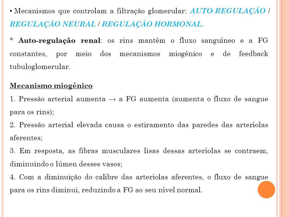 Mecanismos que controlam a filtração glomerular: AUTO-REGULAÇÃO / REGULAÇÃO NEURAL / REGULAÇÃO HORMONAL. Auto-regulação renal * Auto-regulação renal :